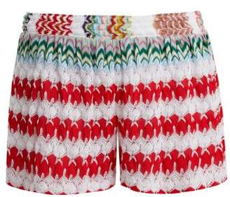 Missoni Mare - High Waist Knit Shorts - Womens - Red White