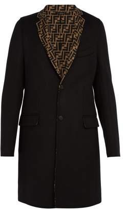 Fendi Logo Lapel Wool Blend Coat - Mens - Black