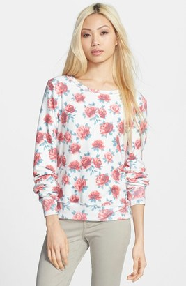 Women's Wildfox Rose Print Baggy Beach Jumper Pullover $118 thestylecure.com