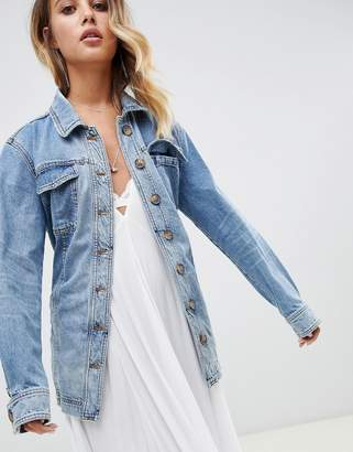 Free People Heritage long denim jacket with waist tie