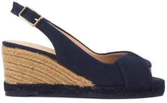 Castaner Brianda Dark Blue Natural Fabric Wedge Sandal