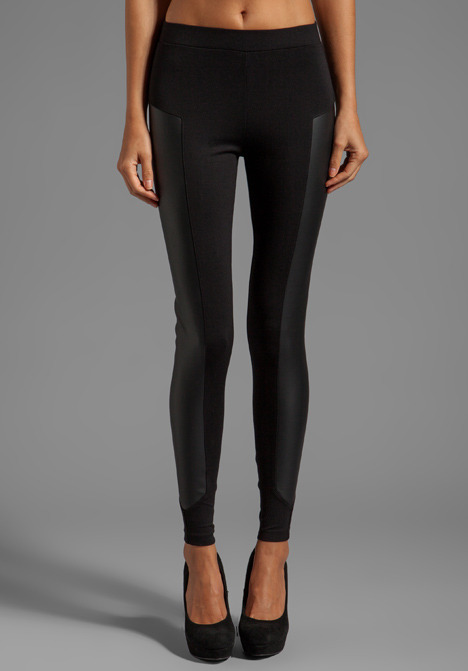 C&C California x Stephanie Ponte Legging With Leather Panel