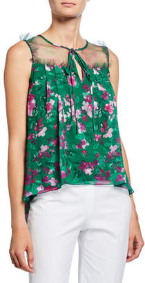 Marchesa Floral Printed Burnout Chiffon Sleeveless Blouse with Front Tie