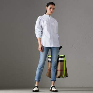 Burberry Open-stitch and Pintuck Detail Striped Cotton Shirt