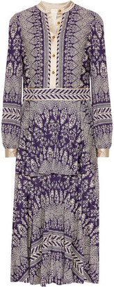 Tory Burch - Tovero Printed Crepe De Chine Midi Dress - Dark purple $595 thestylecure.com
