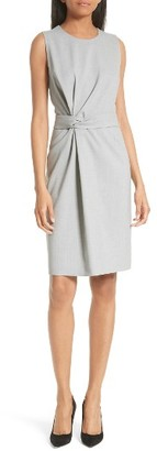 Women's Boss Dimesa Twist Front Stretch Wool Dress $575 thestylecure.com