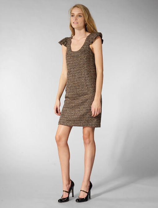 Tracy Reese Tweed with Gold Flecks Puff Chemise Dress in Ruse