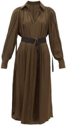 Carl Kapp - Pheasant Ruched Shoulder Satin Faille Midi Dress - Womens - Khaki