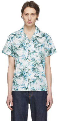 Naked & Famous Denim Denim Denim White and Green Big Tropical Aloha Shirt