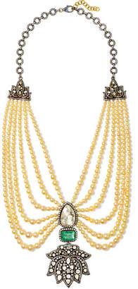 Amrapali 18-karat Gold, Sterling Silver And Multi-stone Necklace - Ivory