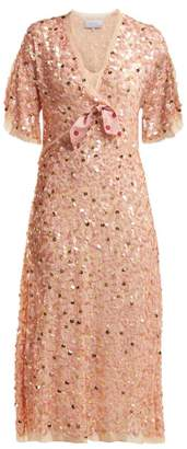 Luisa Beccaria Bow Trim Sequinned Chiffon Dress - Womens - Pink