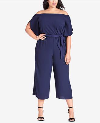 City Chic Plus Size Cropped Off-The-Shoulder Jumpsuit