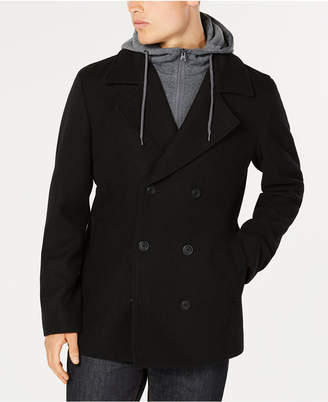 American Rag Men's Regular Fit Fleece Peacoat with Hooded Sweatshirt Bib