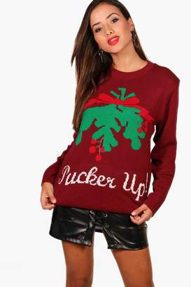 boohoo Pucker Up Christmas Jumper