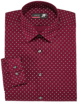 Jf J.Ferrar Easy Care Stretch Big And Tall Long Sleeve Broadcloth Dots Dress Shirt