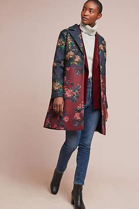 Eva Franco Colorblocked Floral Coat