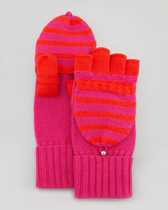Kate Spade Fall In Line Pop-Top Mittens, Snapdragon/Madras