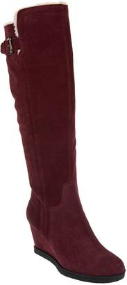 Isaac Mizrahi Live! Suede Wedge Tall Boots w/ Faux Sherpa