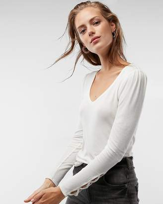 Express Ribbed Puff Shoulder Lace-Up Top