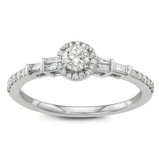 Vera Wang Simply Vera 14k White Gold 1/2 Carat T.W. Diamond Halo Engagement Ring