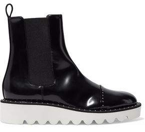 Stella McCartney Studded Faux Glossed-Leather Ankle Boots