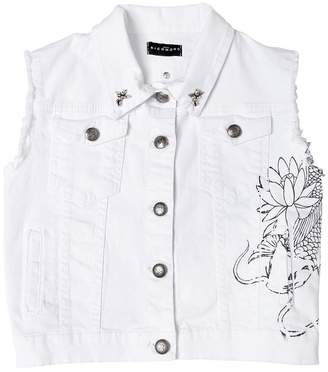 John Richmond Stretch Cotton Denim Vest