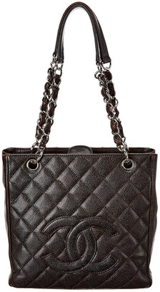 Chanel Brown Quilted Caviar Leather Petite Shopping Tote