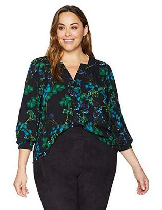 Calvin Klein Women's Plus Size Long Sleeve Floral Top