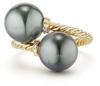 David Yurman Solari Bypass Ring with Diamonds & Cultured Tahitian Gray Pearls in 18K Gold