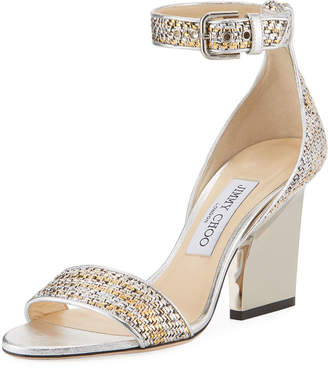 Jimmy Choo Edina 85mm Woven Metallic Sandal