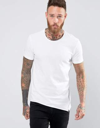 Benetton T-Shirt With Asymetrical Raw Hem and Zip Detail