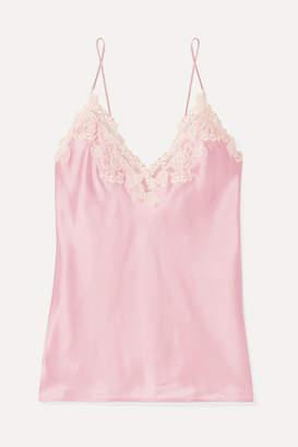 La Perla Maison Embroidered Lace-trimmed Silk-blend Satin Camisole - Pastel pink