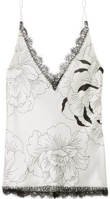 Carine Gilson Anna Chantilly Lace-trimmed Floral-print Silk-satin Camisole - Ivory