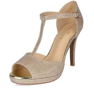 DREAM PAIRS Women's GAL_10 Black Pu Fashion Stiletos Heeled Sandals