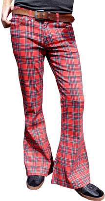 Glam Rock Fuzzdandy Mens Bell Bottoms Flares Tartan Red Patterned Pants Trousers Jeans Vintage Retro
