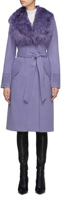 SENTALER Detachable fur collar belted ribbed cuff melton wrap coat