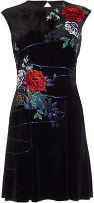Karen Millen Floral Velvet Mini Dress