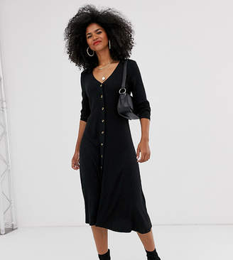 Mama Licious Mama.Licious Mamalicious nursing knitted button front maxi dress in black