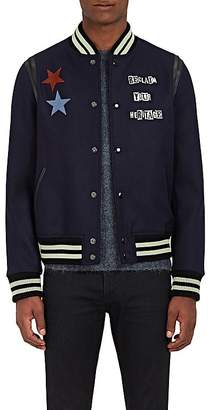 Valentino MEN'S VARSITY STAR-EMBROIDERED WOOL BOMBER JACKET