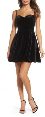 La Femme Strappy Back Velvet Skater Dress