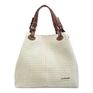 Cream Leather Shopper Bag