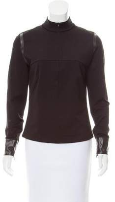 Akris Punto Faux Leather Accented Long Sleeve Top
