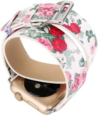 Juzzhou Bands For iWatch Apple Watch Series 1/2/3 Leather Plum Blossom Flower Sport Replacement Wristband Wriststrap Bracelet Wrist Strap Band With Adapter Adjustable Clasp For Woman Lady Girls
