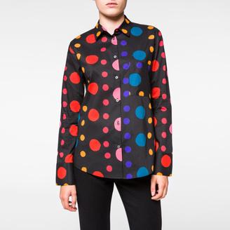 Women's Black Multi-Colour 'Spot' Print Cotton Shirt $595 thestylecure.com