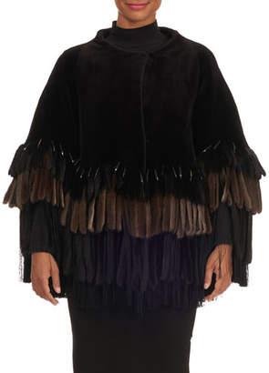 Pajaro Layered Fringe-Bottom Sheared Mink Fur Jacket