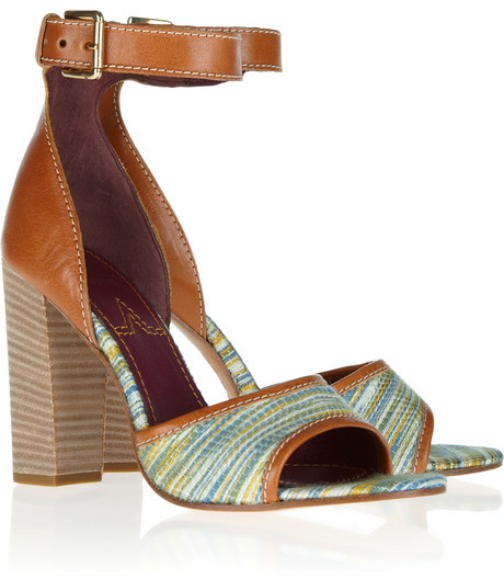 M Missoni Woven cotton and wool-blend and leather sandals