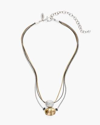 Short Tri-Tone Pendant Necklace