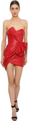 Alexandre Vauthier Ruffled Leather Mini Dress