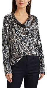Zero Maria Cornejo Women's Hair-Print Silk-Blend Charmeuse Blouse - Ink Jet, greige