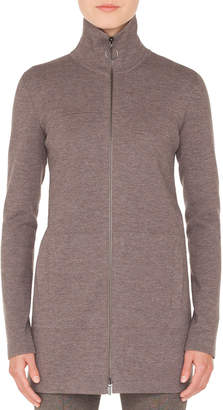 Akris Punto Turtleneck Zip-Front Melange Knit Long Cardigan